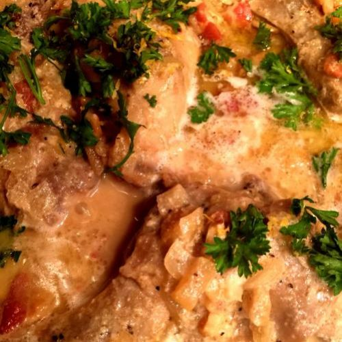 Braised Rabbit with Crème Fraîche, Bacon and Shinko